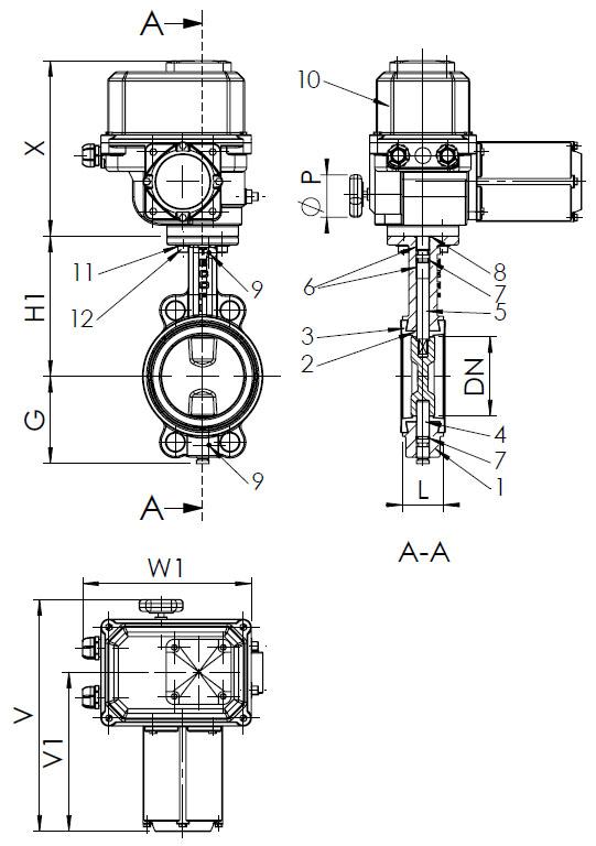 Затвор дисковый поворотный, с электроприводом МЭОФ-40/25