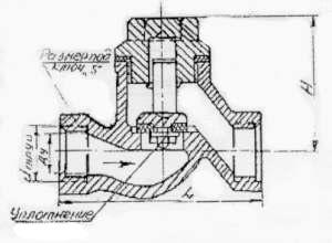 Клапан обратный подъемный, ТУ 26-07-1486-89